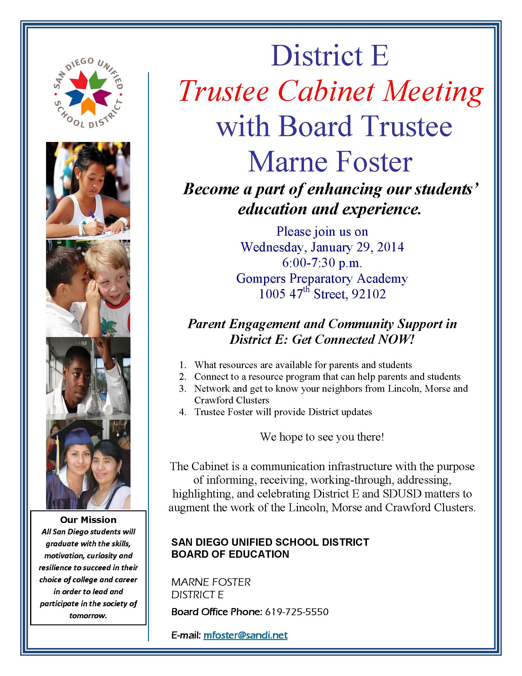District E Trustee Cabinet Meeting with SDUSD Board Vice President Marne Foster