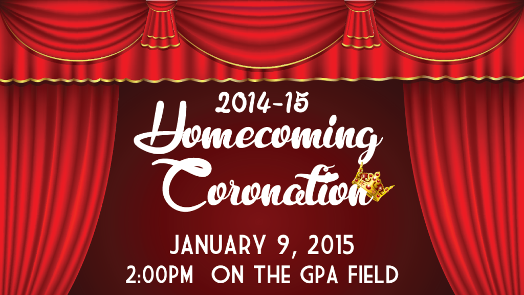 Homecoming Coronation, Soccer Game, and Lip Sync Concert January 9, 2015!