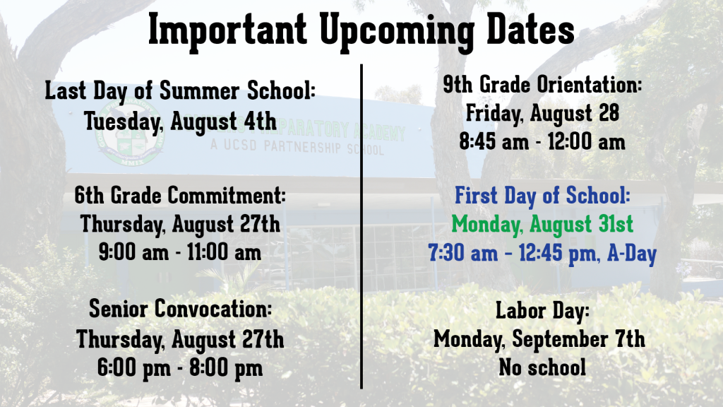 Important Upcoming Dates! Mark Your Calendar