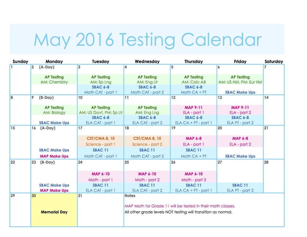 2016 May Calendar