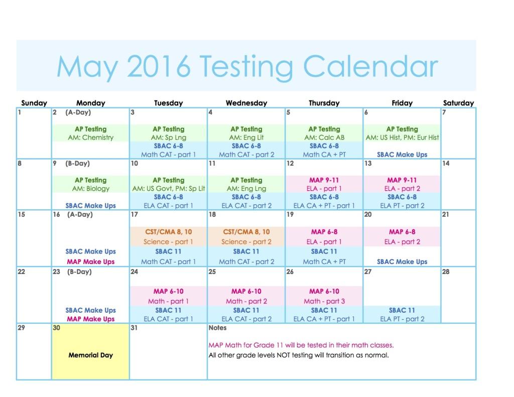 May Testing 2016 Calendar
