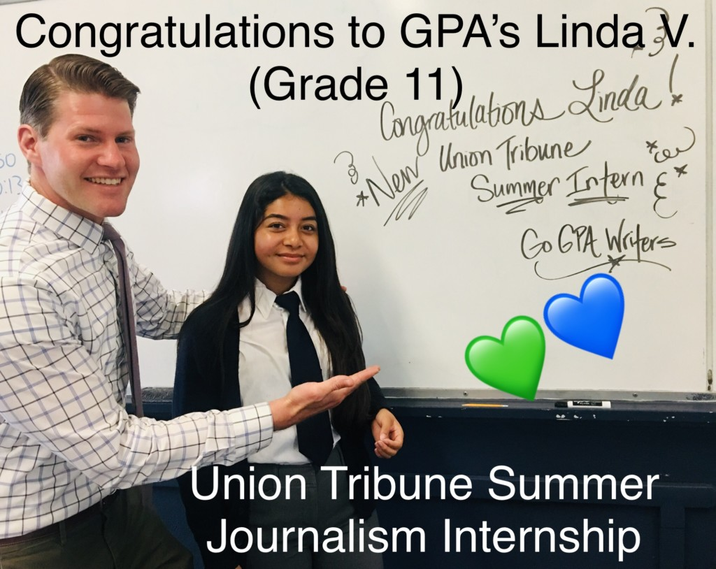 GPA Junior Linda V. Receives Internship at the Union Tribune