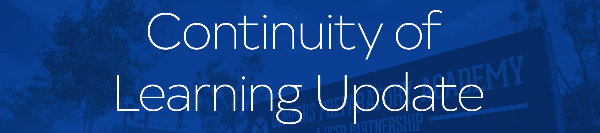 Continuity of Learning Plan Video - April 7, 2020